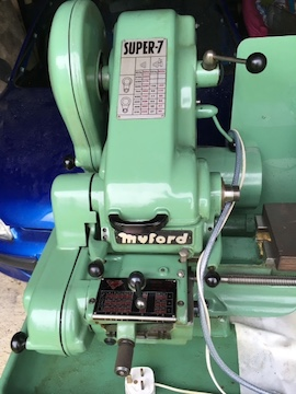 Myford Super 7B lathe for sale gearbox power cross feed left view