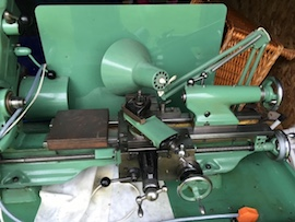 Myford Super 7B lathe for sale gearbox power cross feed lamp view