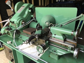 Myford Super 7B lathe for sale gearbox power cross feed angle view