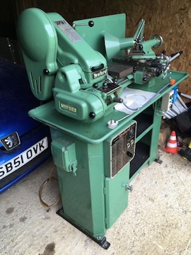 Myford Super 7B lathe for sale gearbox power cross feed side view