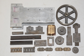 main view Brunell side rod table live steam engine castings for sale