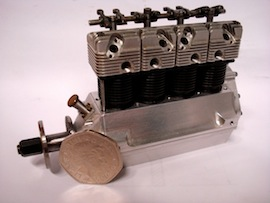 left view Cirrus De Havilland 1/9 scale 4 cylinder aero engine by Eric Whittle for sale