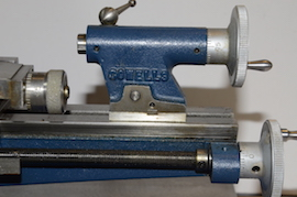 tailstock view Cowells ME90 lathe for sale