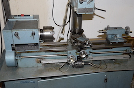 close Emcomat 7 Emco lathe with milling column head attachment for sale