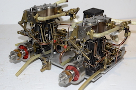 main view Stuart double 10 vertical live steam marine engine for sale