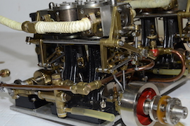 exhaust view Stuart double 10 vertical live steam marine engine for sale