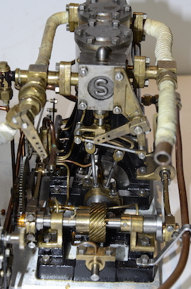 end view Stuart double 10 vertical live steam marine engine for sale