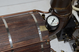 gauge view Stuart double 10 vertical live steam marine engine for sale
