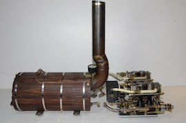 full view Stuart double 10 vertical live steam marine engine for sale