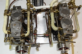 top view Stuart double 10 vertical live steam marine engine for sale