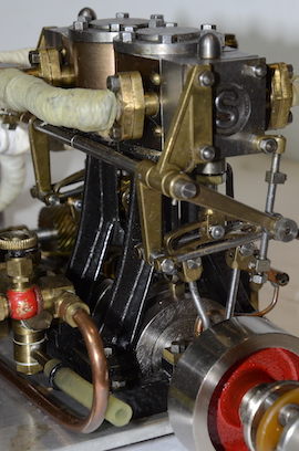 reverse view Stuart double 10 vertical live steam marine engine for sale