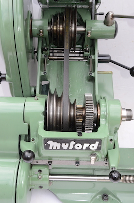 Myford Super 7 power cross feed lathe SK166804 for sale pulley view