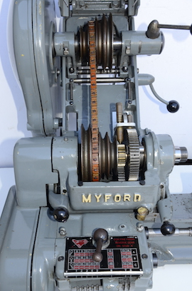 pulley view Myford Super 7B Longbed lathe for sale