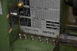oil Warco WMT918 lathe for sale